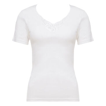 Short Sleeve Top in White - Cotton Feminine-PLAYTEX