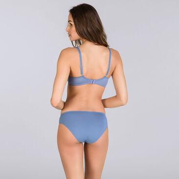Two-tone denim blue balconette bra - Flower Elegance-PLAYTEX