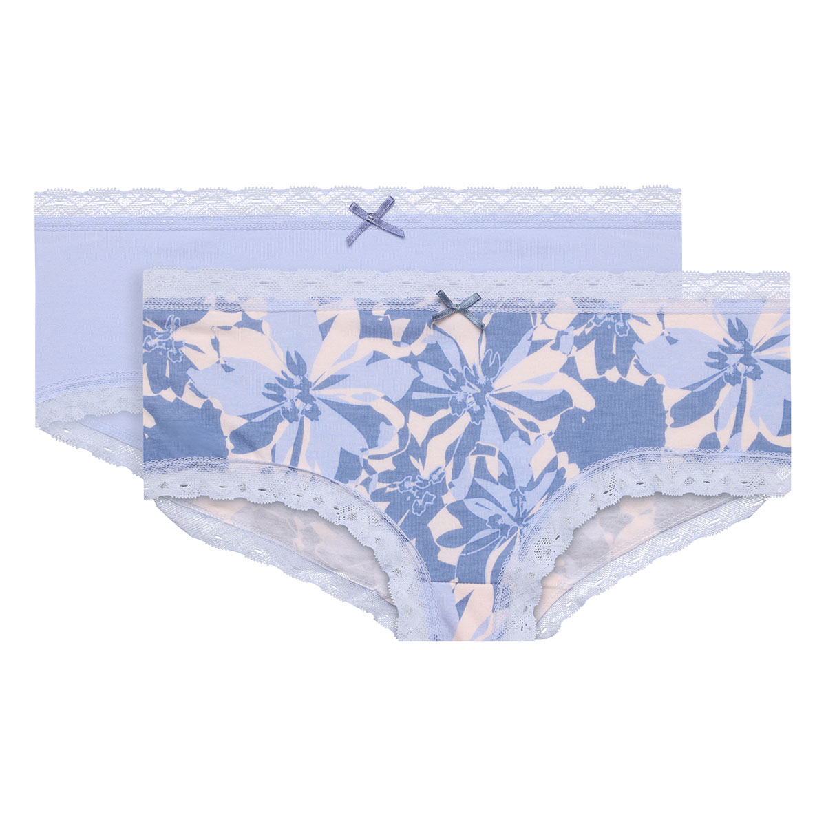 2 Pack blue floral shorts - Basic Cotton Fancy-PLAYTEX