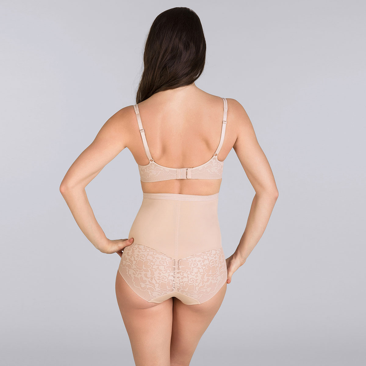 Beige high-waisted girdle - Expert in Silhouette-PLAYTEX