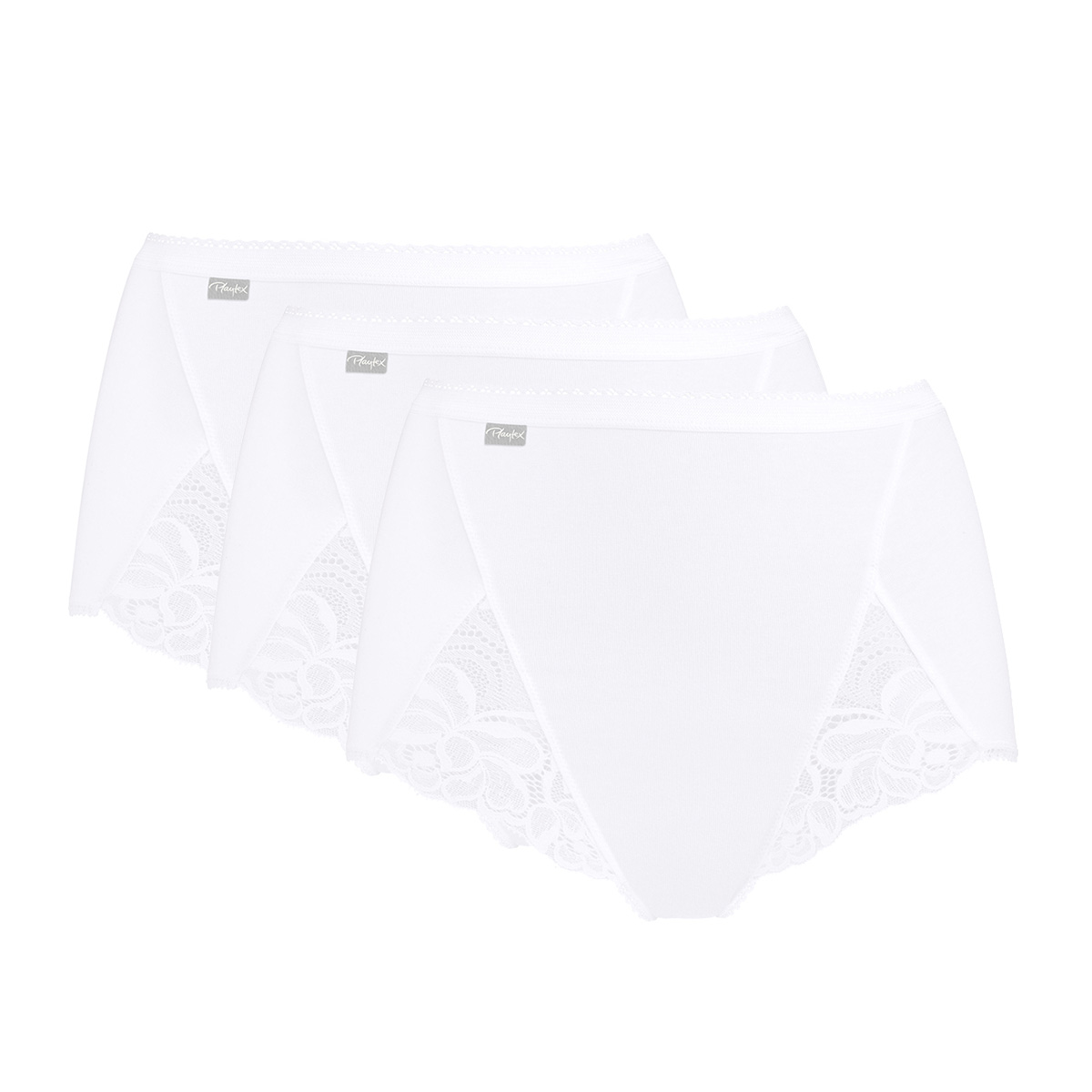 2 Maxi Briefs  in White – Cotton & Lace-PLAYTEX