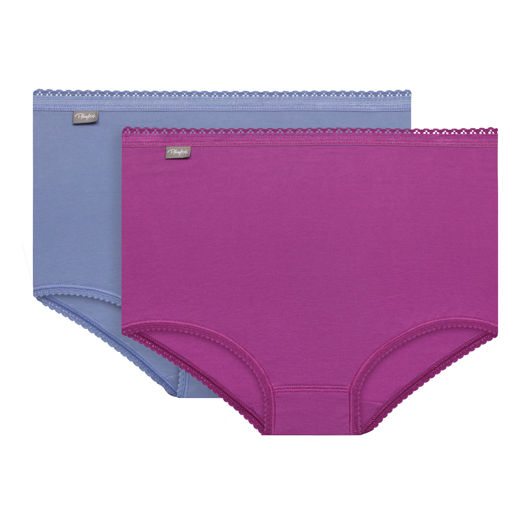 3 Pack Maxi briefs : white, purple and blue - Cotton Stretch-PLAYTEX