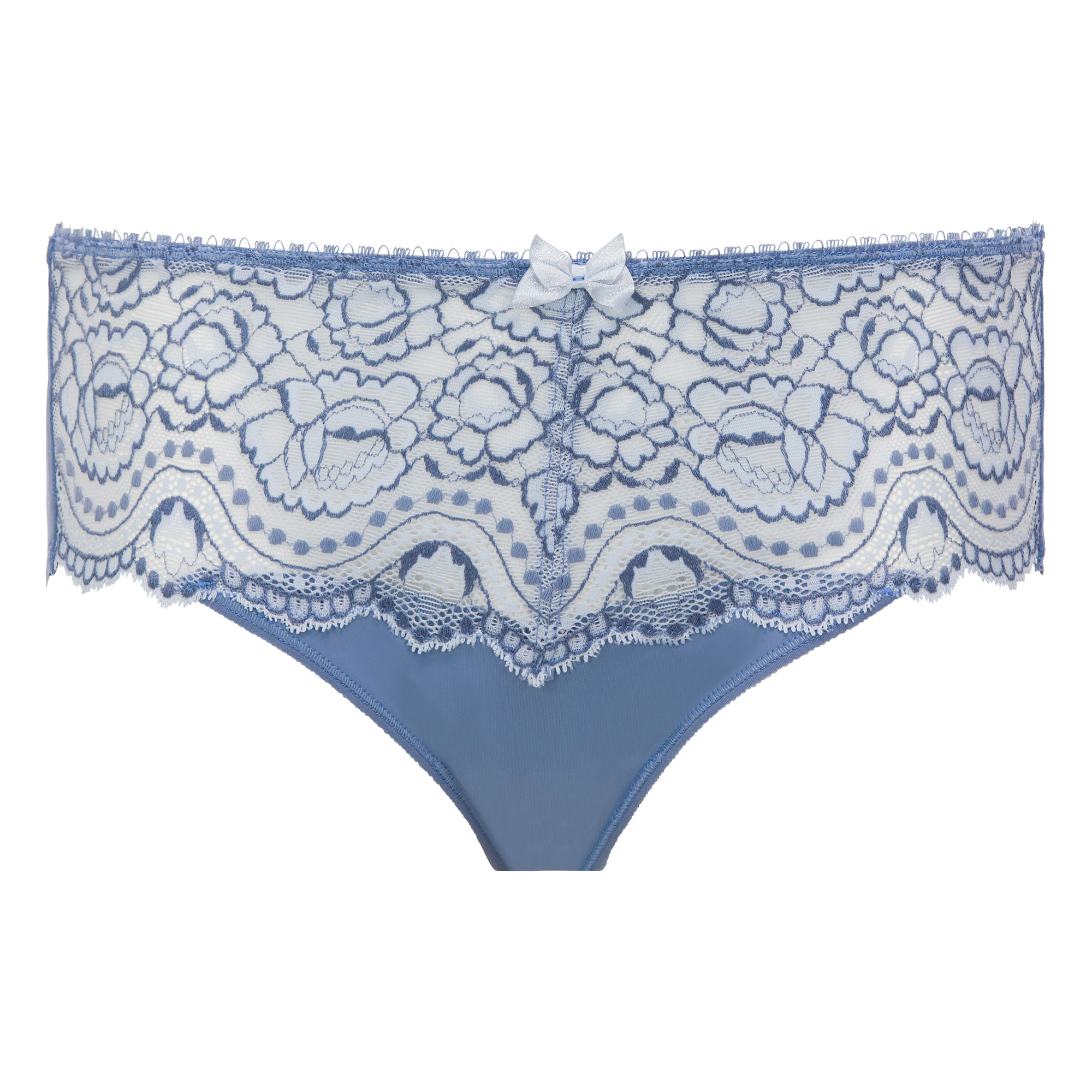 Two-tone denim blue Midi briefs - Flower Elegance-PLAYTEX