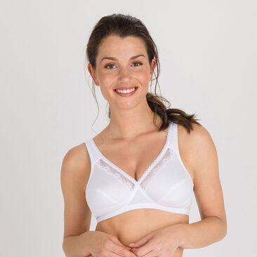 Non-wired bra in white Cotton Support, , PLAYTEX