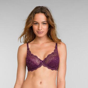 Full Cup Lace Bra in Dark Berry Lurex Flower Elegance, , PLAYTEX