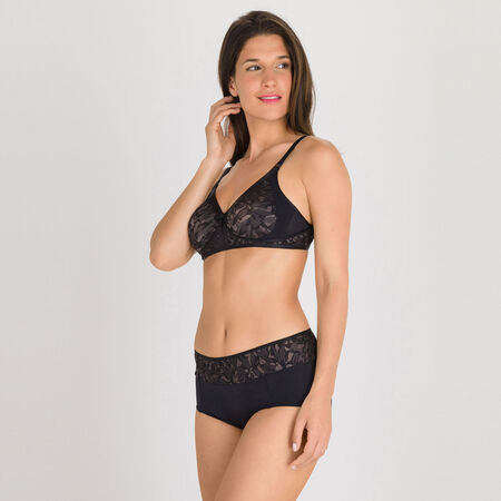 3412898438 Non-wired Bra in Black and Grey - Ideal Beauty Lace