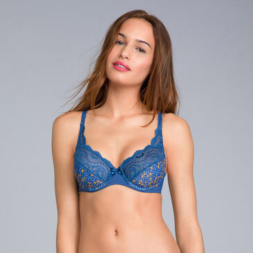 Full Cup Bra in Lace & Microfibre Navy Blue Print - Flower Elegance - PLAYTEX