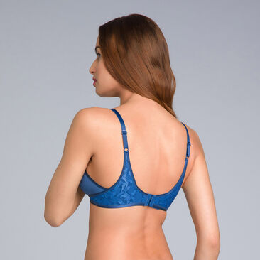 Non-Wired Full Cup Bra in Navy Blue - Ideal Beauty Lace - PLAYTEX