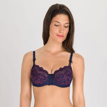 Balcony Bra in Dark Blue Purple - Flower Elegance-PLAYTEX