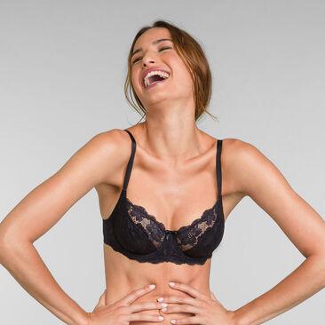 Underwired Lace Bra in Black Essential Elegance, , PLAYTEX