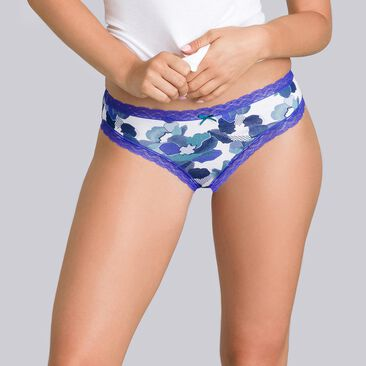 2 pairs of blue and floral-print briefs - Cotton Fancy-PLAYTEX