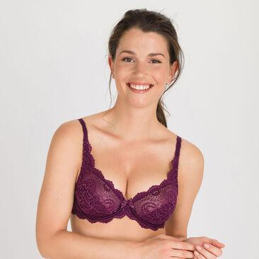 Full Cup Bra in Dark Purple - Flower Elegance-PLAYTEX