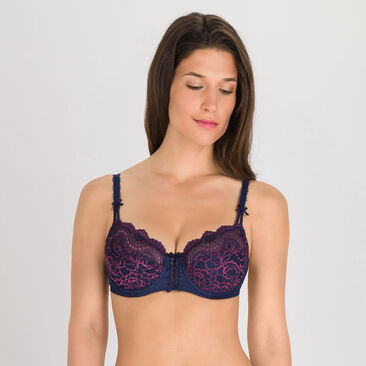 Balcony Bra in Dark Blue Purple - Flower Elegance-PLAYTEX