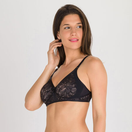 9052ce94df789 Non-wired Bra in Black and Grey - Ideal Beauty Lace