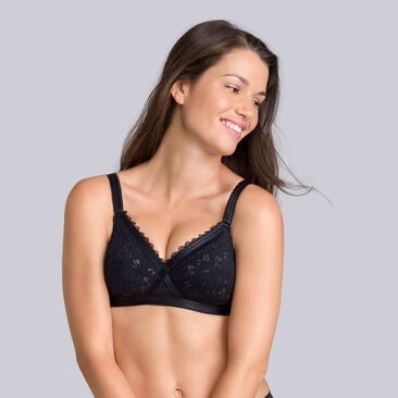 2 non-wired bras in black & white - Classic Lace Support-PLAYTEX