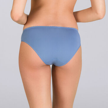 Two-tone denim blue Mini briefs - Flower Elegance-PLAYTEX
