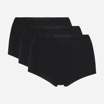 3 pack of black full briefs in organic cotton, , PLAYTEX