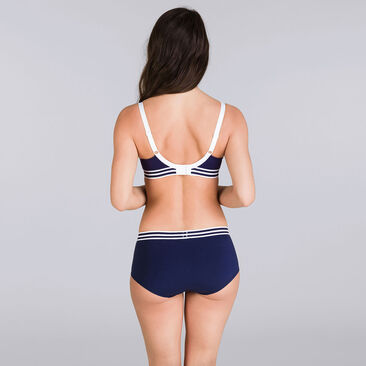 Navy blue & white non-wired bra - Sporty Chic-PLAYTEX