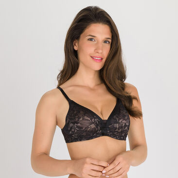 Full Cup Bra in Black and Grey - Ideal Beauty Lace, , PLAYTEX