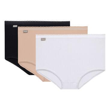 3 Pack Maxi briefs : white, black and beige - Cotton Stretch-PLAYTEX