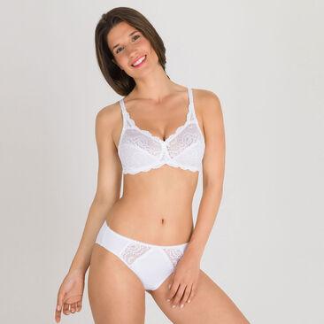 Non-wired Bra in White – Flower Elegance-PLAYTEX