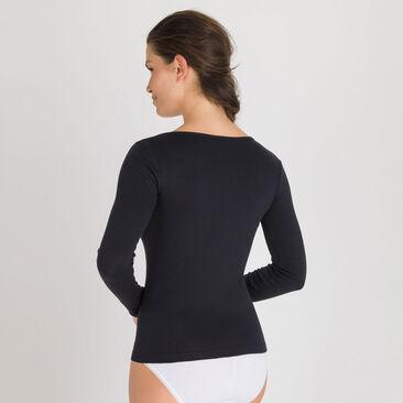 Long Sleeve Top in Black - Cotton Liberty-PLAYTEX