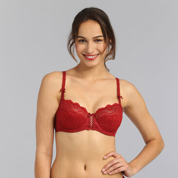 Balcony bra in dark red Flower Elegance, , PLAYTEX