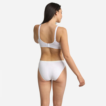 2 pack of white high waist knickers in organic cotton, , PLAYTEX