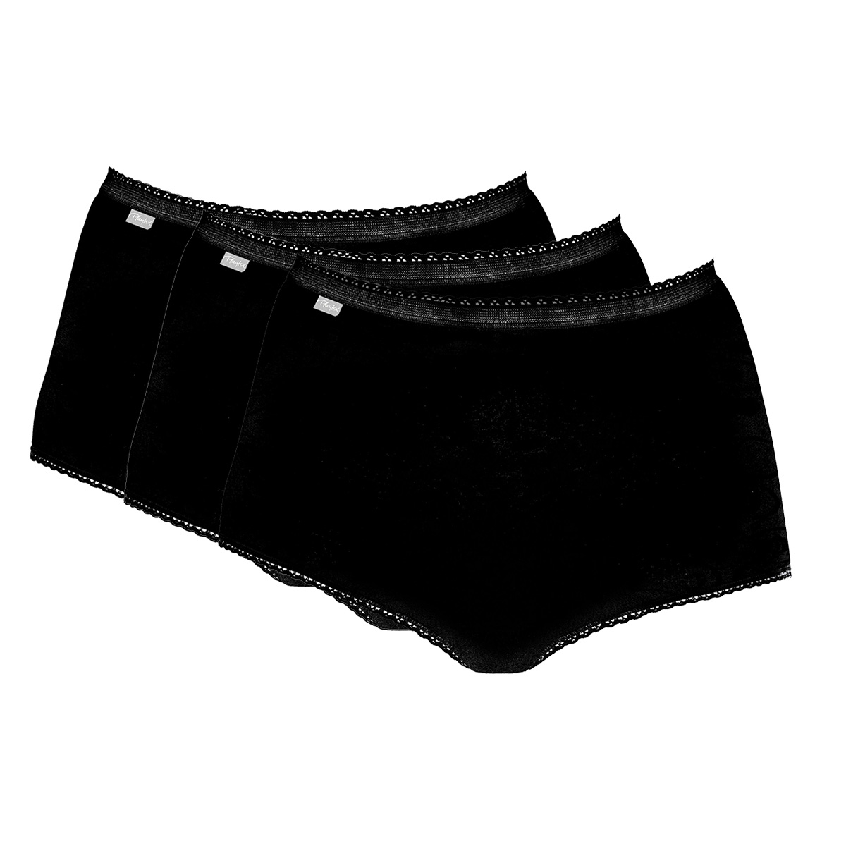 2 Maxi Briefs in Black – Stretch Cotton-PLAYTEX
