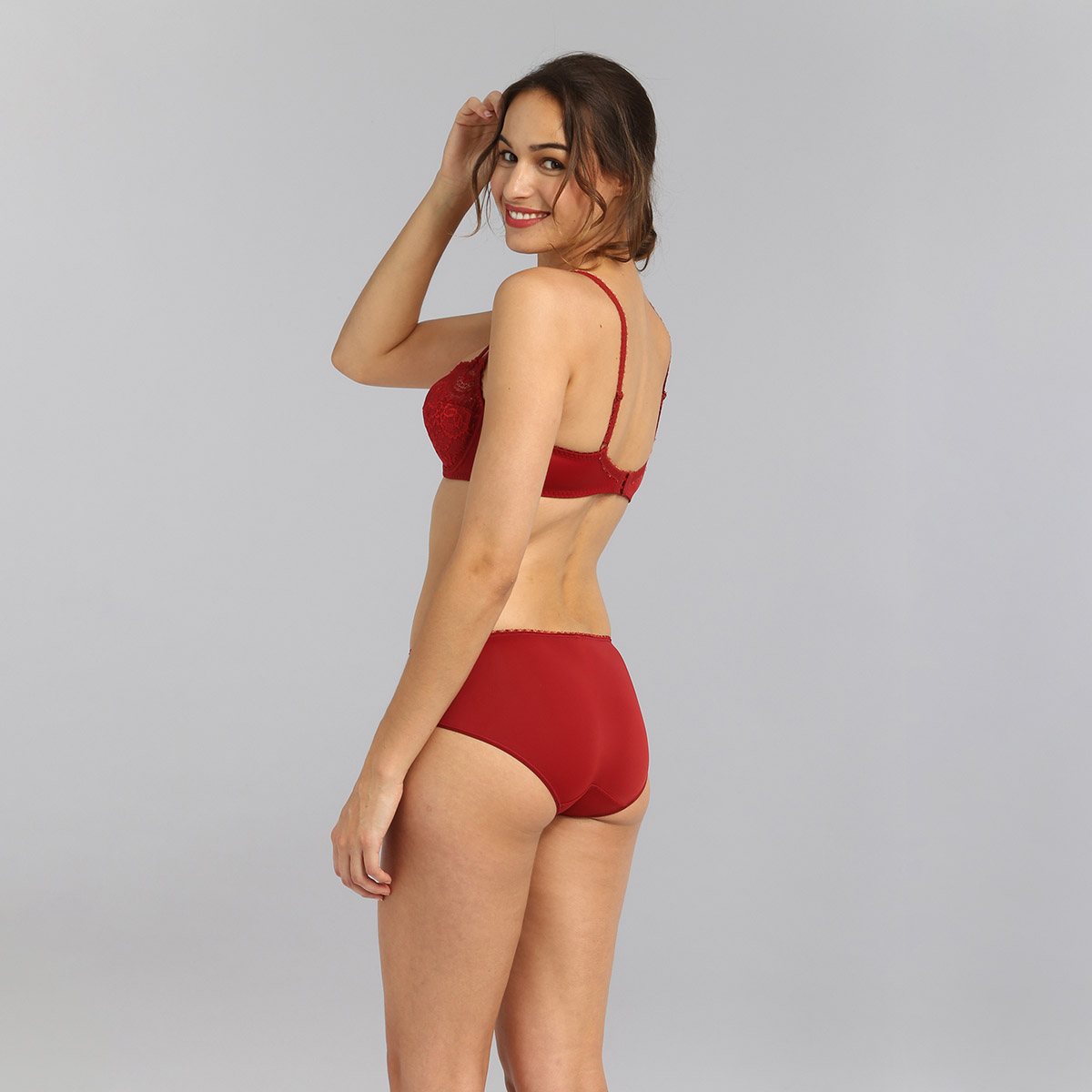 Midi knickers in dark red Flower Elegance, , PLAYTEX