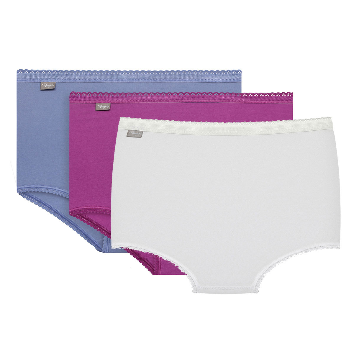 3 Pack Midi briefs : white, purple and blue - Cotton Stretch-PLAYTEX