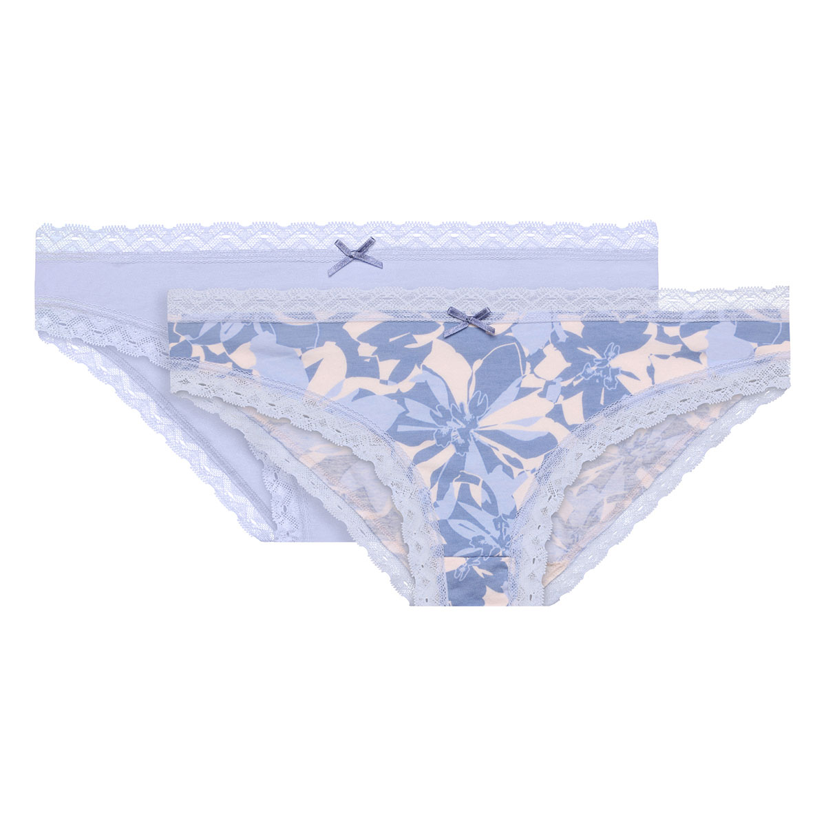 2 Pack blue floral briefs - Basic Cotton Fancy-PLAYTEX