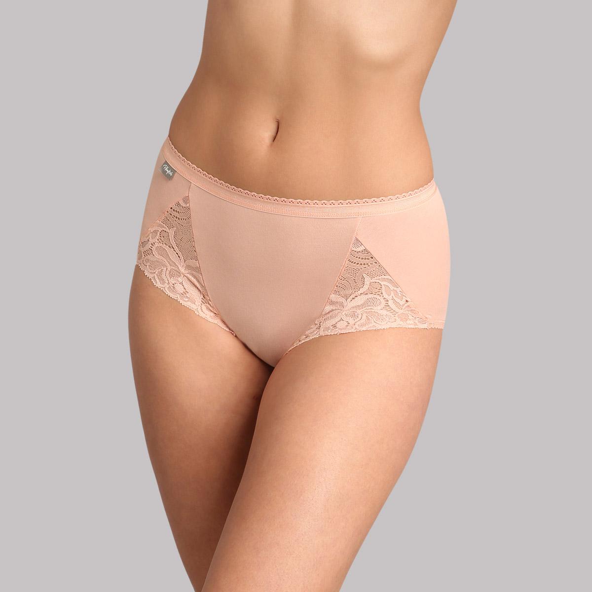 3 pack of midi knickers white/ pink sand/ black - Feminine Cotton , , PLAYTEX