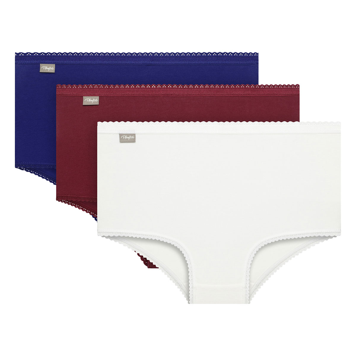 Pack of 3 Full Briefs in White/Red/Blue Cotton Stretch, , PLAYTEX