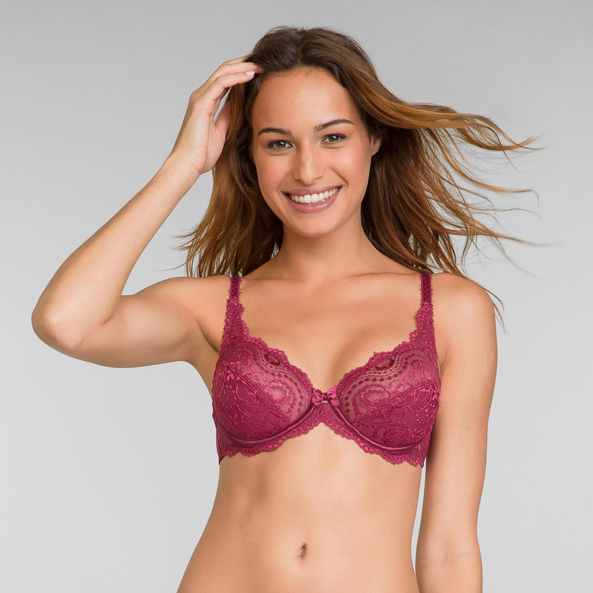 Full Cup Lace Bra in Romance Red Flower Elegance, , PLAYTEX
