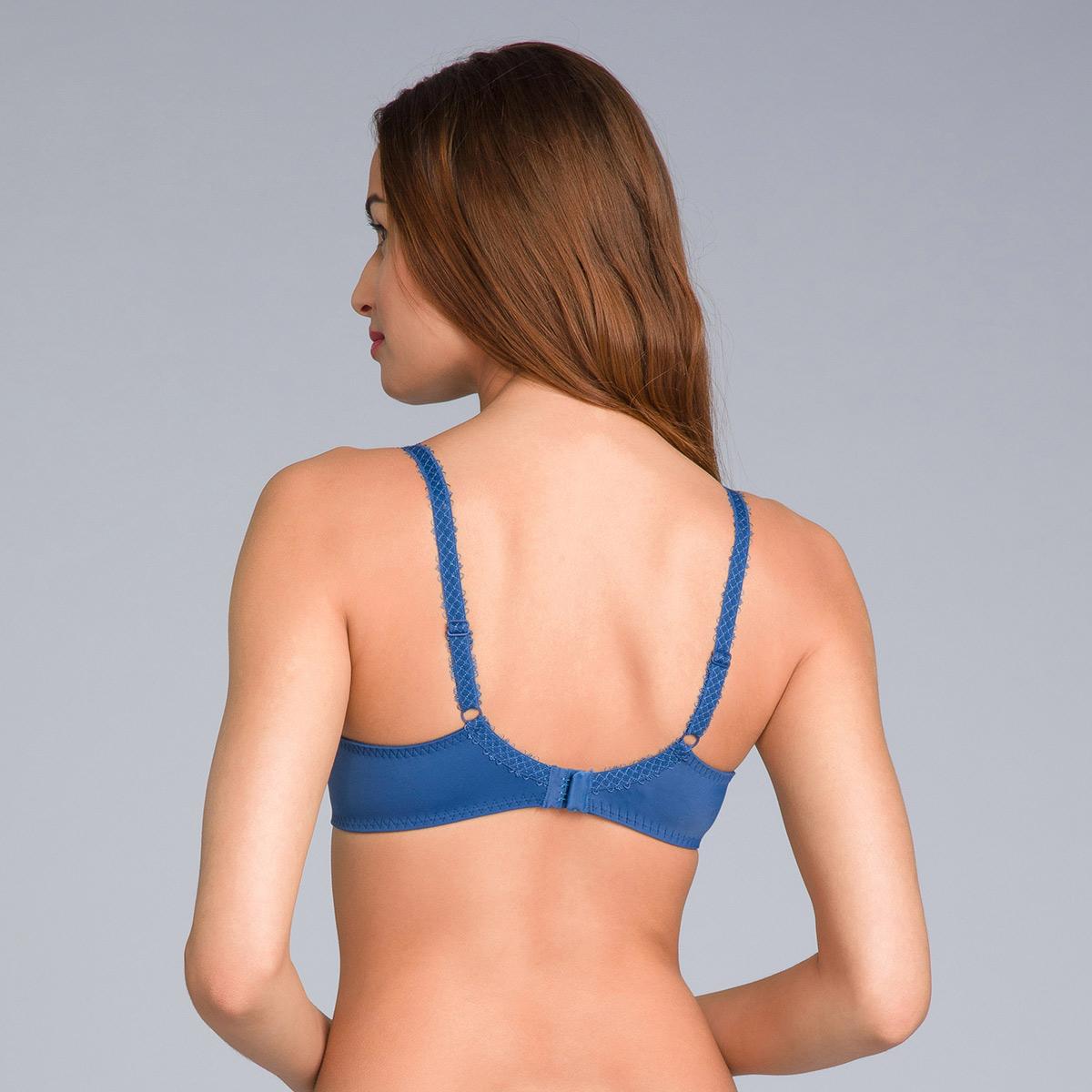 Full Cup Bra in Lace & Microfibre Navy Blue Print - Flower Elegance - PLAYTEX