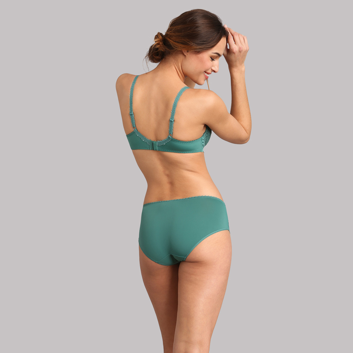 Midi knickers in dark green lace - Flower Elegance, , PLAYTEX