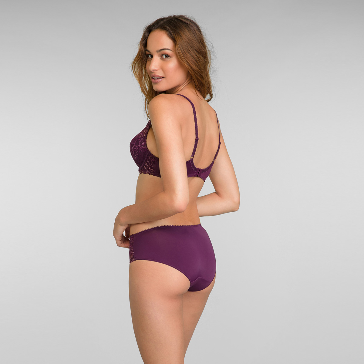 Midi Knickers in Dark Berry Lurex Flower Elegance, , PLAYTEX