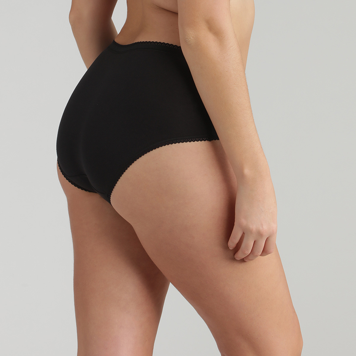 2 Midi Knickers in Black – Stretch Cotton, , PLAYTEX