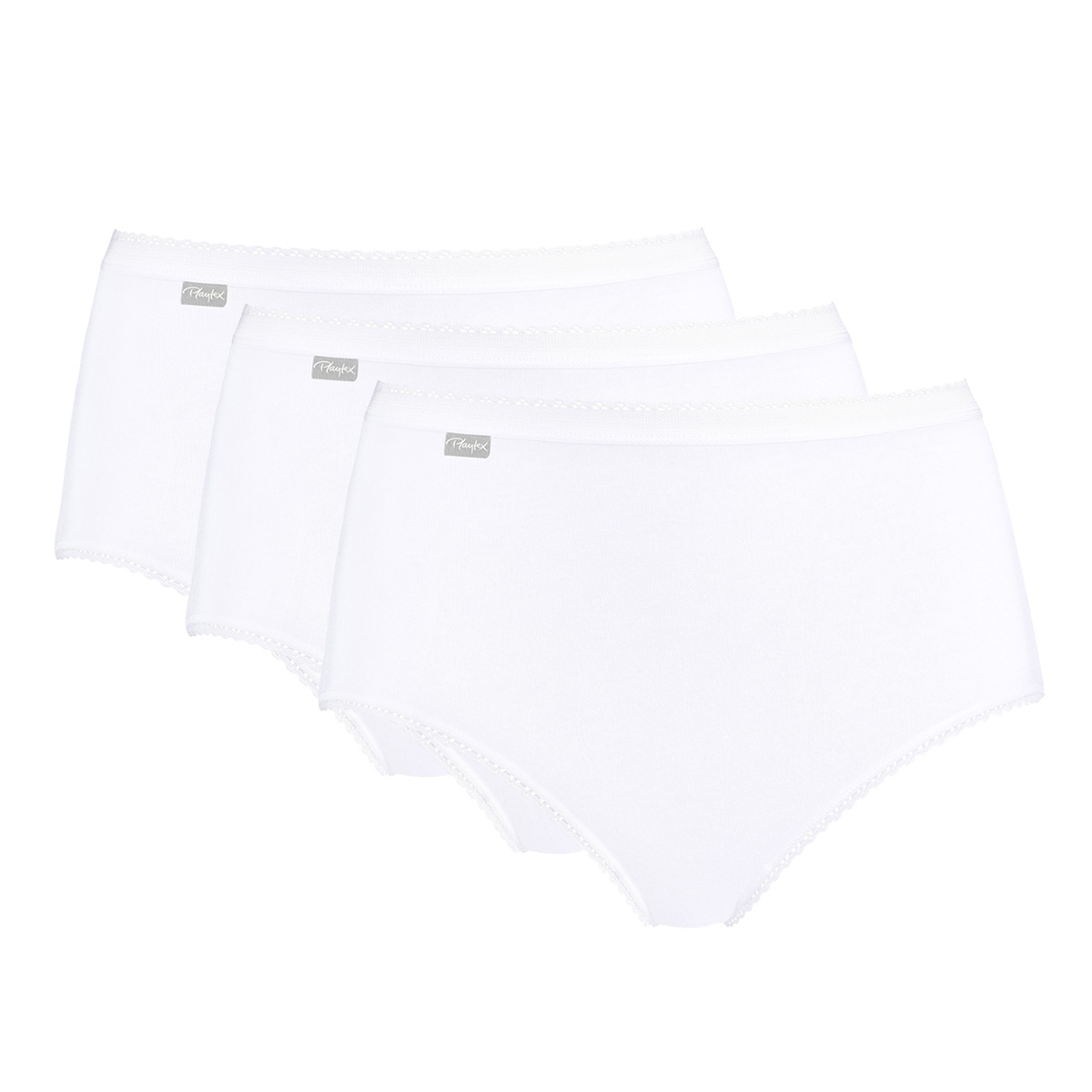 3  Midi Briefs in White – Stretch Cotton-PLAYTEX