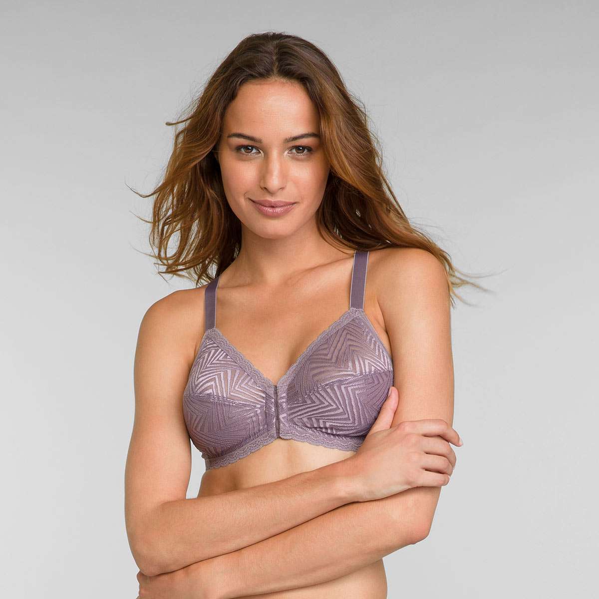 Non Wired Front Closure Bra in Mink Ideal Posture, , PLAYTEX