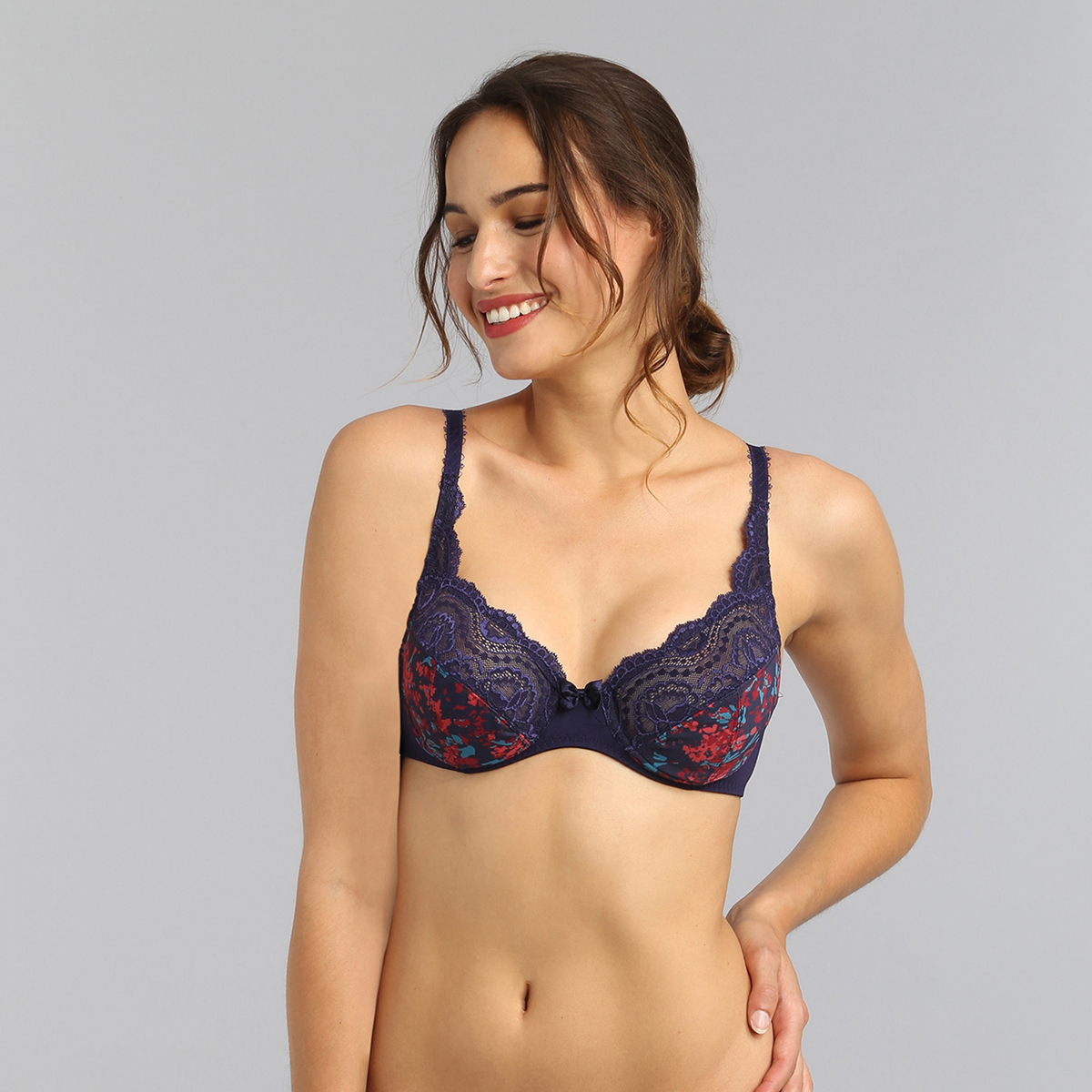 Underwired bra in blue garden print Flower Elegance Micro, , PLAYTEX