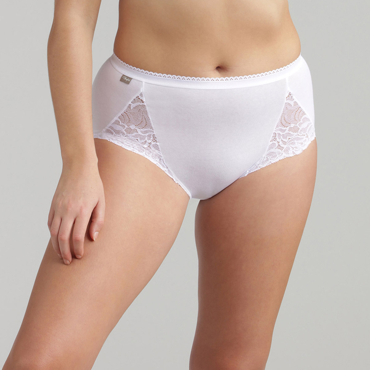 2 pack of mid-rise knickers – Cotton & Lace, , PLAYTEX