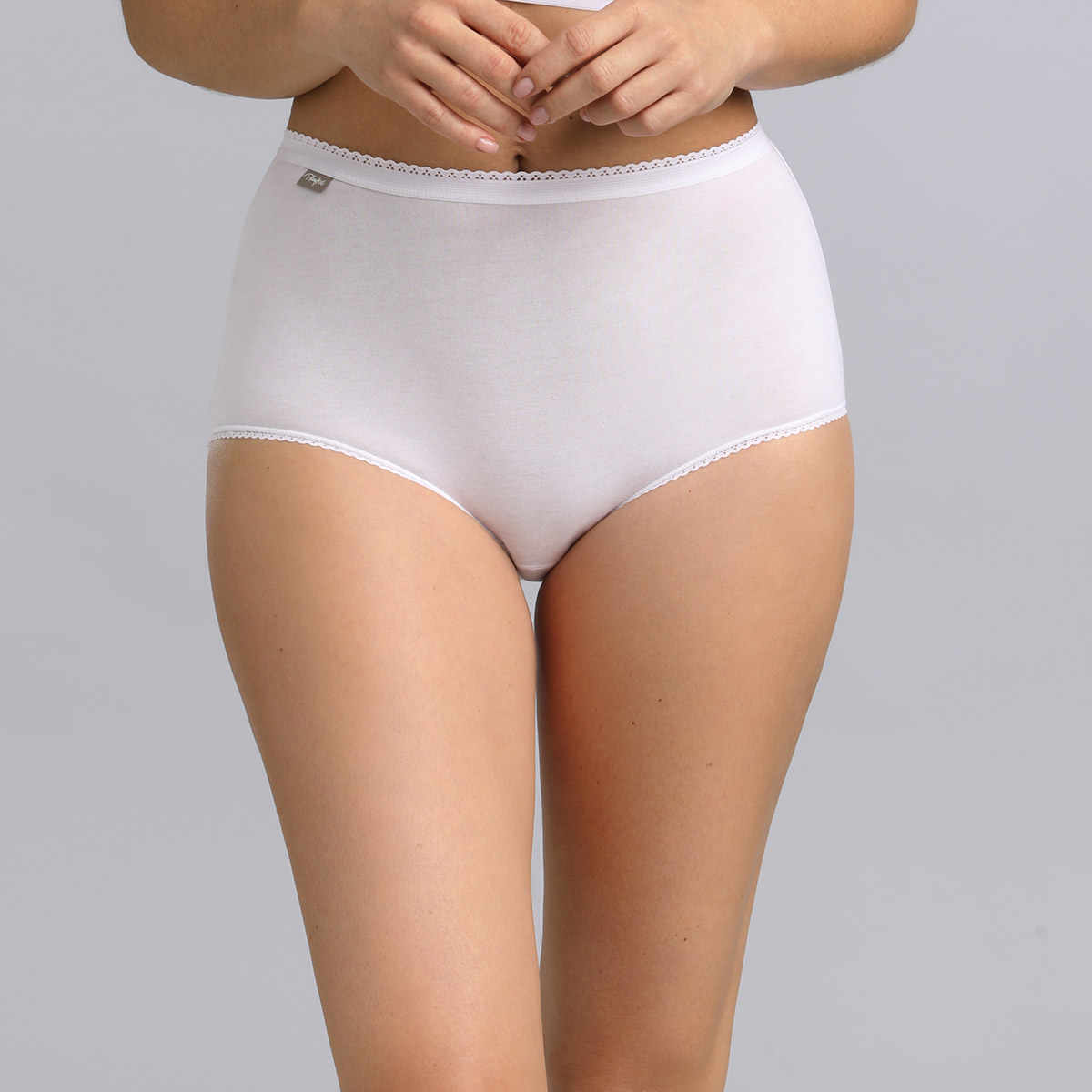 3 Pack of Midi Knickers in White - Stretch Cotton, , PLAYTEX