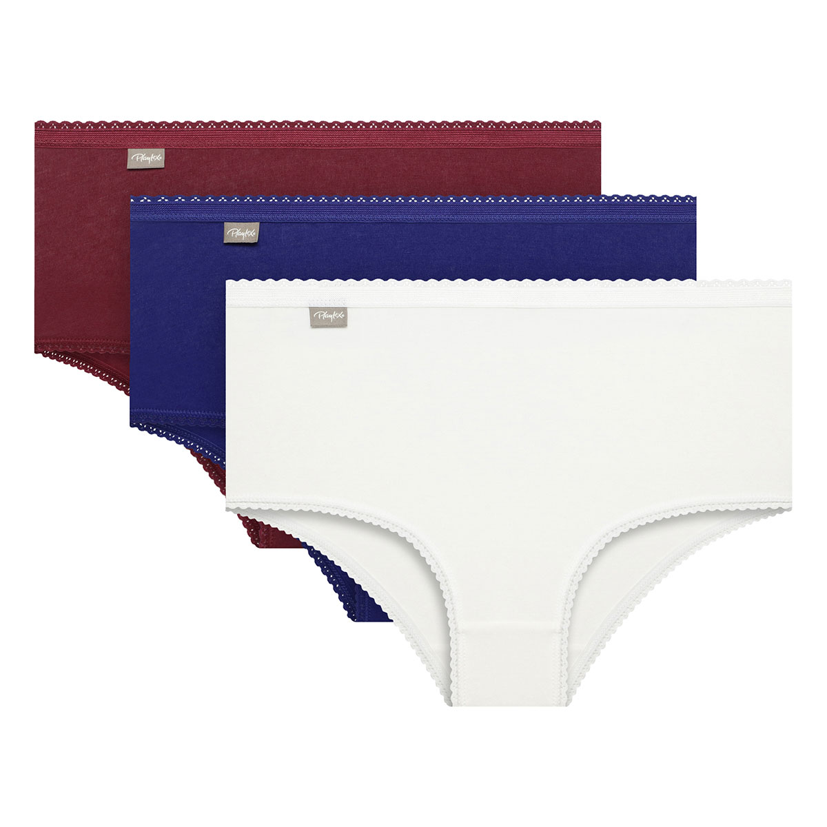 Pack of 3 Midi Knickers in White/Red/Blue Cotton Stretch, , PLAYTEX