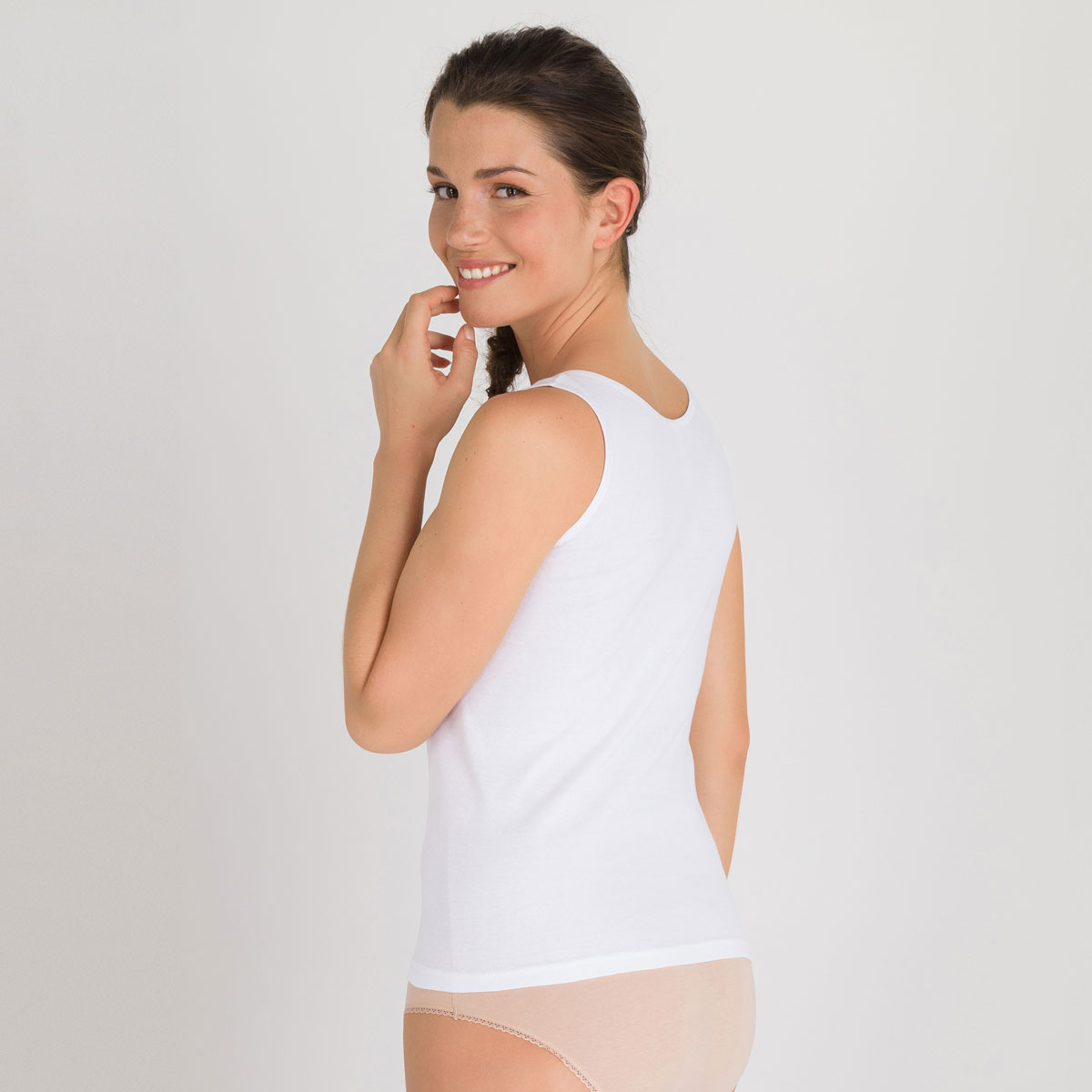 Tank top in White - Cotton Feminine-PLAYTEX