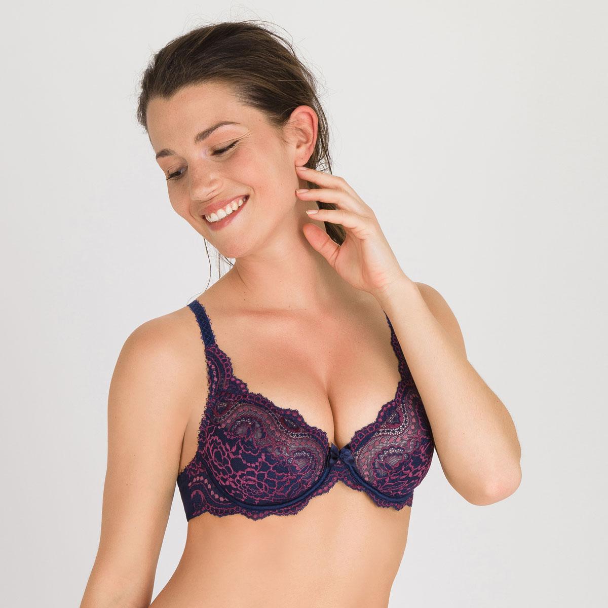 0f11e60be339b Full Cup Bra in Dark Blue Purple - Flower Elegance