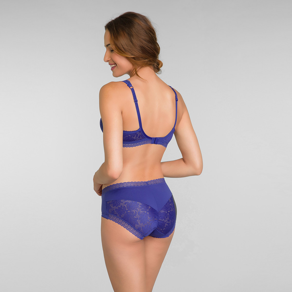 Lace Balcony Bra in Sami Blue Invisible Elegance, , PLAYTEX