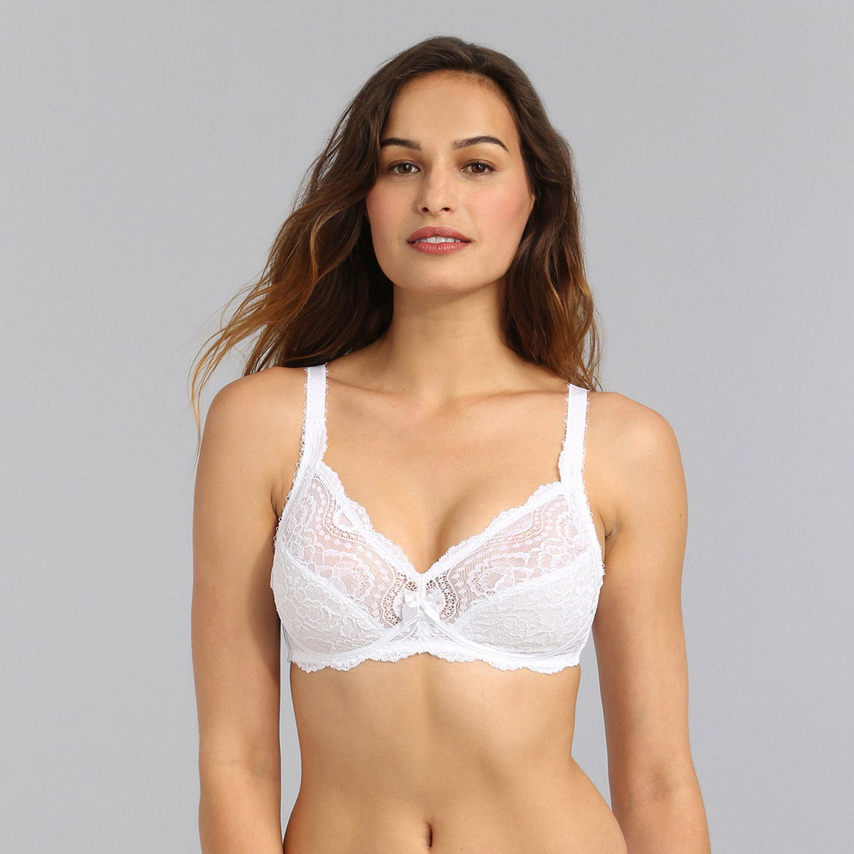 Non-wired bra in white Flower Elegance, , PLAYTEX