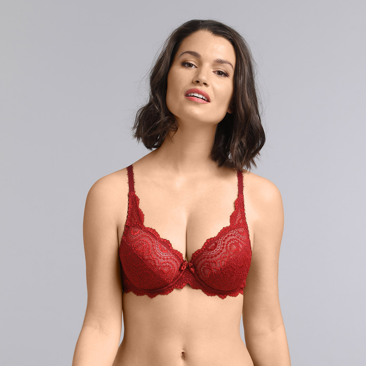 Underwired bra in dark red Flower Elegance , , PLAYTEX